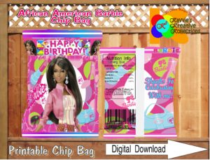 photo relating to Printable Chip Bags known as African American Barbie Printable Chip Baggage Prompt Obtain